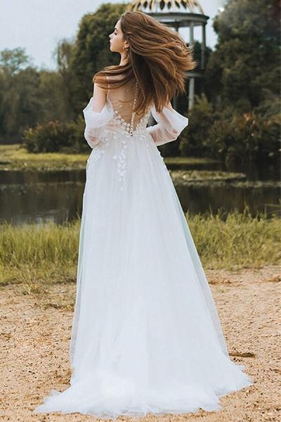 Chic Long Sleeve Cold-shoulder Tulle Wedding Dress_7