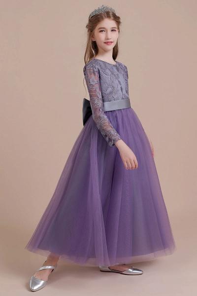 Long Sleeve A-line Ankle Length Flower Girl Dress_7
