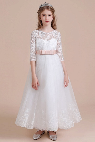 Illusion Lace Tulle Ankle Length Flower Girl Dress_1
