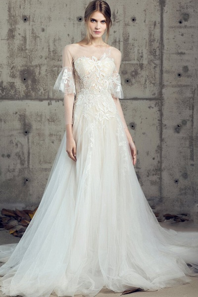 Illusion Long Sleeve Appliques Tulle Wedding Dress_1