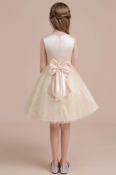 Cute Sequins Tulle A-line Flower Girl Dress_3