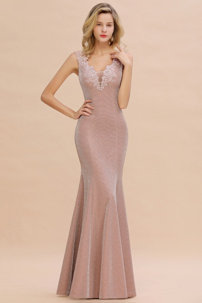 Fascinating V-neck Lace Mermaid Evening Dress_11