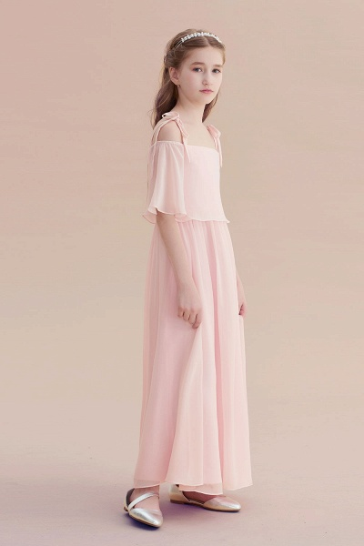 Cold-shoulder A-line Chiffon Flower Girl Dress_4