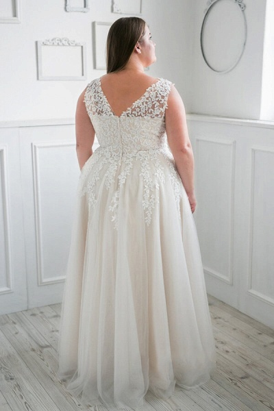 Plus Size V-neck Tulle A-line Wedding Dress_3