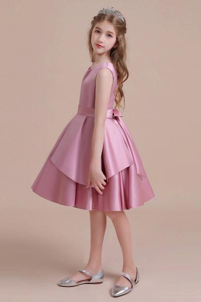 Best Satin Knee Length Flower Girl Dress_7