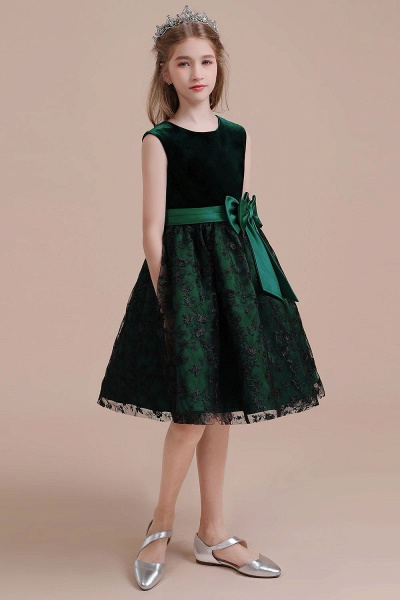 Lace Velvet A-line Knee Length Flower Girl Dress_7