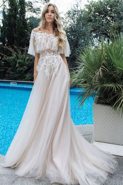 Appliques Off-the-shoulder A-line Wedding Dress_4