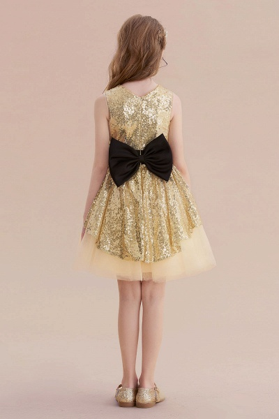 Tulle Sequins Bows Knee Length Flower Girl Dress_3
