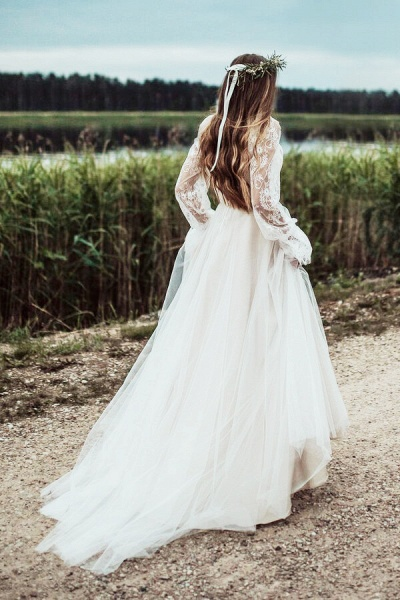 Front Slit Long Sleeve Lace Tulle Wedding Dress_5