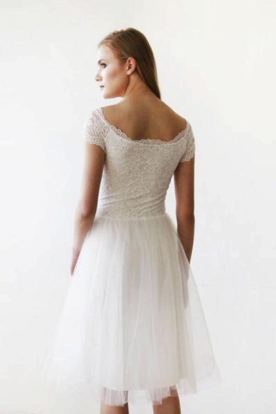 Short Sleeve Lace Tulle Knee Length Wedding Dress_5