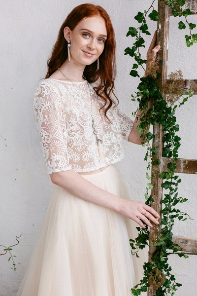 Chic Sweep Train Tulle Two Piece Wedding Dress_4