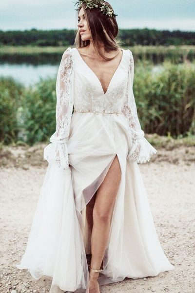 Front Slit Long Sleeve Lace Tulle Wedding Dress_2