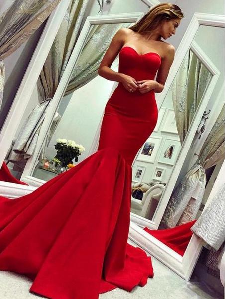 Chic Sweetheart Satin Mermaid Prom Dress_1
