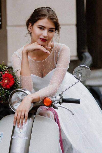 Illusion Long Sleeve Tulle A-line Wedding Dress_5