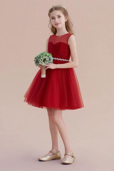 Illusion Tulle Knee Length A-line Flower Girl Dress_6