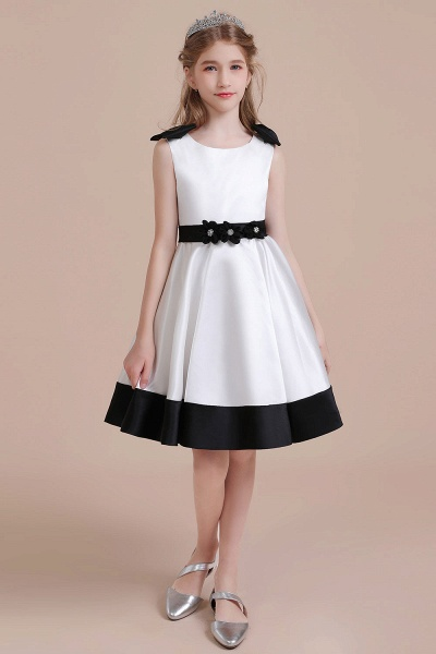 Latest Satin Knee Length Flower Girl Dress_1