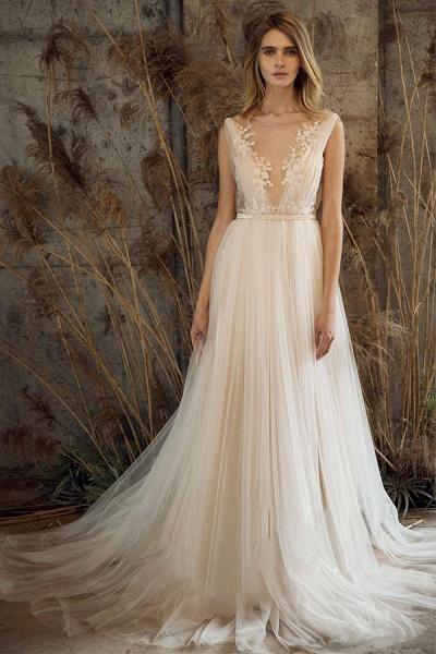 Graceful Appliques Sweep Train A-line Wedding Dress_1