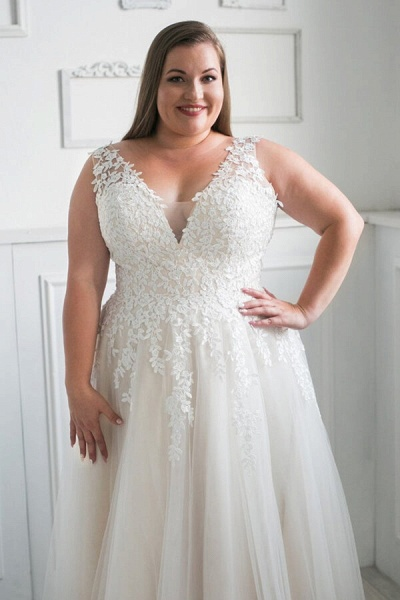 Plus Size V-neck Tulle A-line Wedding Dress_5