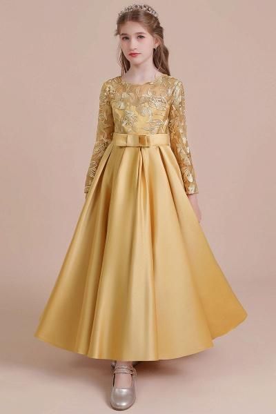 Long Sleeve Satin Ankle Length Flower Girl Dress_9