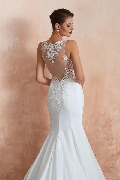 Chic Applique Satin Tulle Mermaid Wedding Dress_10