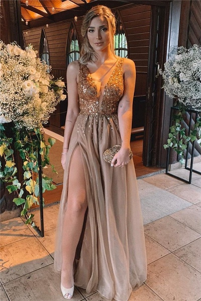Chic V-neck Tulle A-line Prom Dress_1