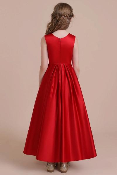 Chic Satin A-line Ankle Length Flower Girl Dress_3