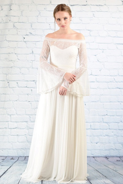 Off-the-shoulder Lace Chiffon A-line Wedding Dress_6