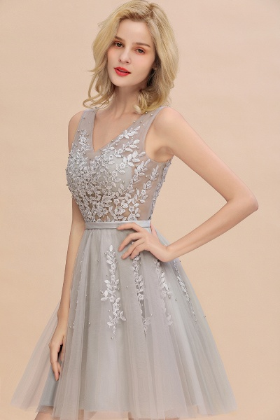 Sexy V-neck Lace-up Short Homecoming Dress with Lace Appliques_13