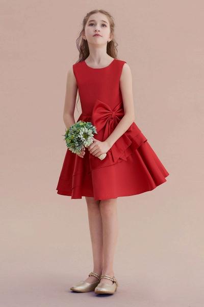 Chic Bow Satin Knee Length Flower Girl Dress_4