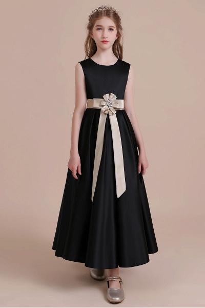 Elegant A-line Satin Flower Girl Dress_4