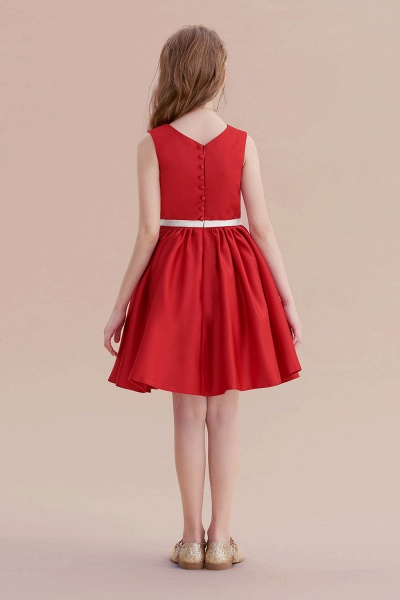 Affordable Appliques Satin A-line Flower Girl Dress_3