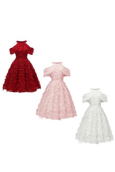 Elegant High neck Artifical Feather A-line Vintage Cocktail Dresses | Retro A-line Burgundy Homecoming Dress_16