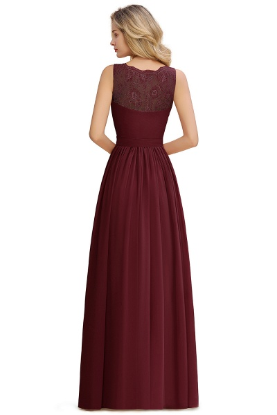 Eye-catching V-neck Lace A-line Evening Dress_19