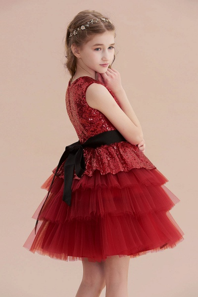 Tulle Sequins A-line Knee Length Flower Girl Dress_6