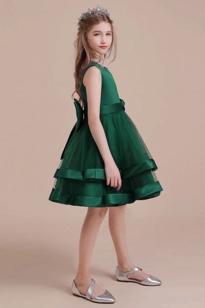 Bow A-line Satin Layered Tulle Flower Girl Dress_6
