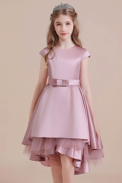 Cap Sleeve A-line Satin High-low Flower Girl Dress_8