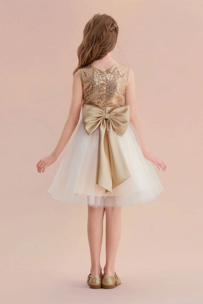 Sequins Tulle Bow A-line Flower Girl Dress_3