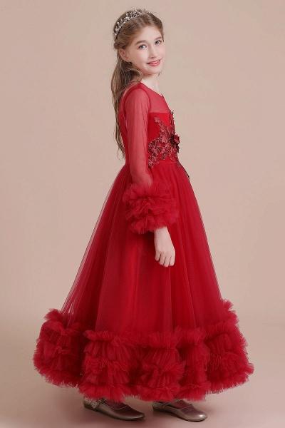 Long Sleeve Applique Tulle A-line Flower Girl Dress_8