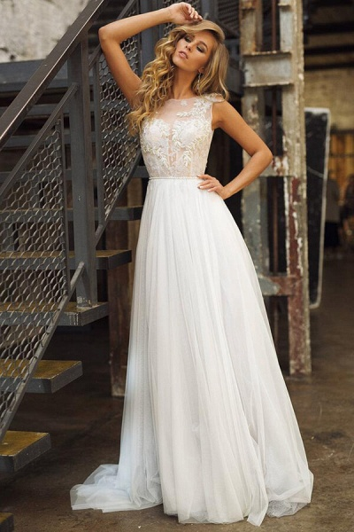 Elegant Tulle Appliques A-line Wedding Dress_1
