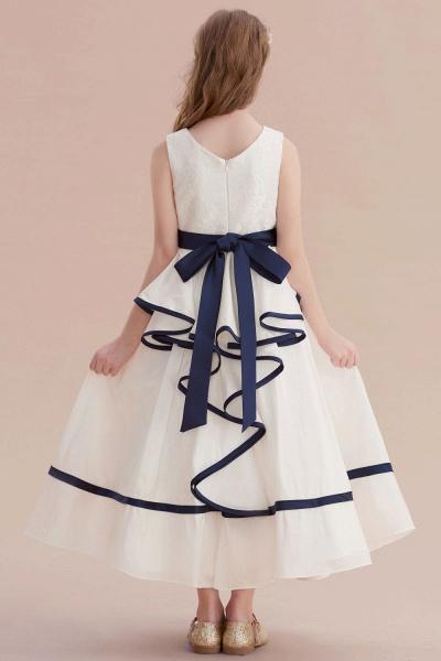 Chic V-neck Lace Ankle Length Flower Girl Dress_3
