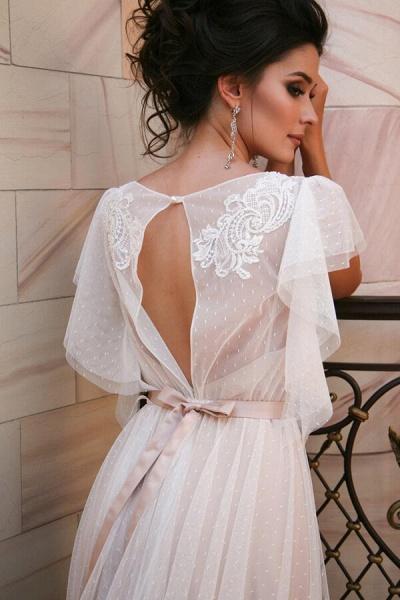 Short Sleeve Appliques Tulle A-line Wedding Dress_5