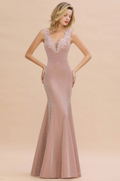 Fascinating V-neck Lace Mermaid Evening Dress_1