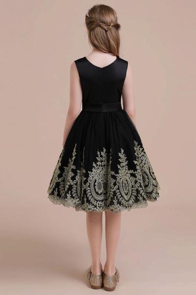 Appliques Satin Tulle A-line Flower Girl Dress_3