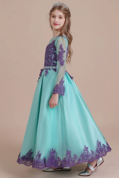 Chic Long Sleeve Appliques A-line Flower Girl Dress_5