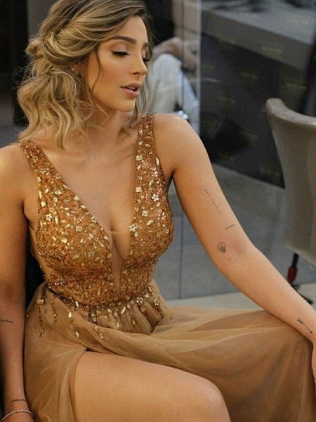 Chic V-neck Tulle A-line Prom Dress_2
