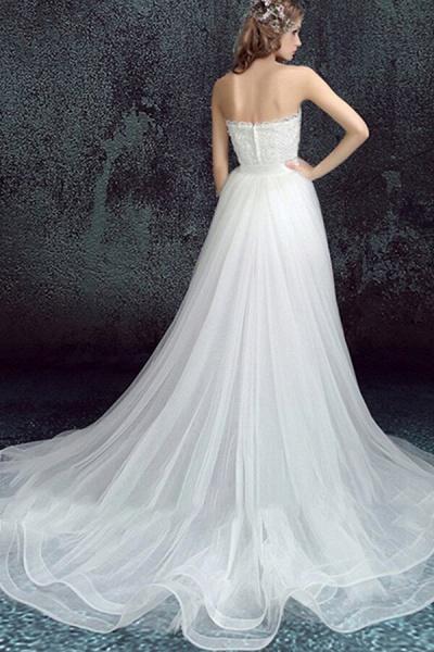 Amazing Sweetheart Tulle Chapel Train Wedding Dress_3