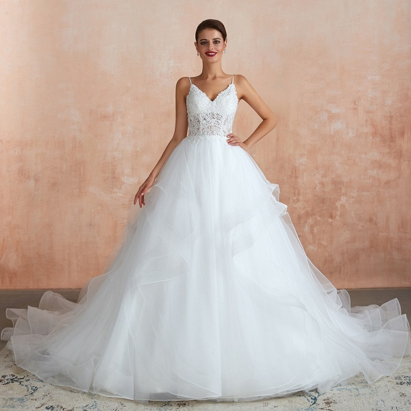 Glorious Appliques Tulle A-line Wedding Dress_5