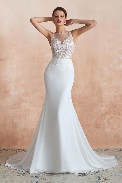 Chic Applique Satin Tulle Mermaid Wedding Dress_4