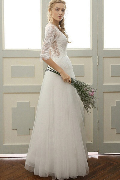 Chic Illusion Lace Tulle A-line Wedding Dress_1
