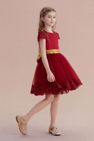 Cap Sleeve Bow Knee Length A-line Flower Girl Dress_6